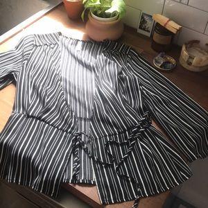 Exhilaration Black + white pinstripe blouse